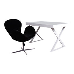 J&M Furniture - A11 Office Desk in White Gloss - This modern and uniquely designed office desk features white gloss finish, white glass top, storage drawer, and uniquely designed steel legs covered in matching white gloss.A11 Office Desk is perfectly sized for any home office.