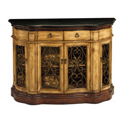 None - Cantebury Credenza - The Cantebury Credenza is a versitile piece. In your dining room,living room,or entryway,the black granite top and wrought iron detailing is absolutely stunning.