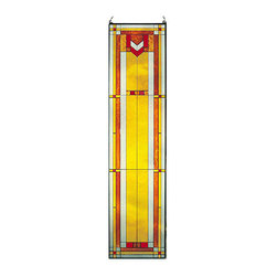 "Maclin Studio - Arts and Crafts Tall Prairie Window Art Glass Panel 9 - Our striking new 42"" tall Prairie Window Art Glass Panel is hand made in the USA with a color palette of Reds, Browns, Gold Ambers and Frosted Clear. Ht: 42"" W: 10.25"". On this glass panel, enamel colors are individually applied to a single sheet of tempered glass giving each panel unique aspects of both color and texture. The glass is then framed with a patinated metal came and comes complete with mounting chain."
