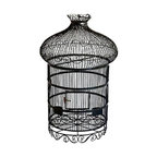 Vintage Black Wrought Iron Birdcage - Beautiful black wrought iron birdcage with ornate lines details and hanging hook. A lovely decorative object that will add victorian charm to any room!