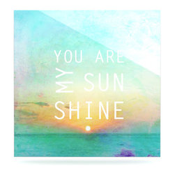 """Kess InHouse - Alison Coxon """"You Are My Sunshine"""" Metal Luxe Panel (10"""" x 10"""") - Our luxe KESS InHouse art panels are the perfect addition to your super fab living room, dining room, bedroom or bathroom. Heck, we have customers that have them in their sunrooms. These items are the art equivalent to flat screens. They offer a bright splash of color in a sleek and elegant way. They are available in square and rectangle sizes. Comes with a shadow mount for an even sleeker finish. By infusing the dyes of the artwork directly onto specially coated metal panels, the artwork is extremely durable and will showcase the exceptional detail. Use them together to make large art installations or showcase them individually. Our KESS InHouse Art Panels will jump off your walls. We can't wait to see what our interior design savvy clients will come up with next."""
