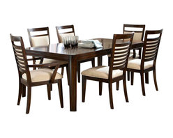 Standard Furniture - Standard Furniture Avion 7-Piece Dining Room Set in Cherry - Avion Dining has smooth transitional styling that gives it great decor versatility and ensures broad and long lasting appeal.