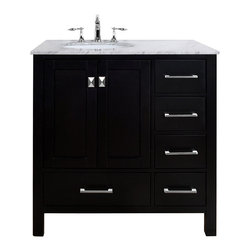 Stufurhome - 36-inch Malibu Espresso Single Sink Bathroom Vanity - An ideal complement to a contemporary decor,the 36-inch Malibu Single Sink Vanity embodies the clean edges and sophistication of modern design. The rich espresso cabinet,made of solid oak lends a warm feeling to your bathroom.