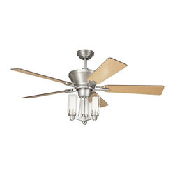 Unknown - Transitional Brushed Nickel Ceiling Fan and Light Kit - This unique transitional ceiling fan features a modern light kit with three clear etched glass cylinders each housing a 40-watt light,clustered together in a chandelier style. Finishing the look are five maple blades with bright brushed nickel hardware.