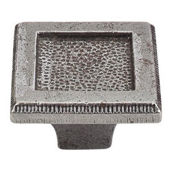 "Top Knobs - Square Inset Knob 2"" - Cast Iron - Width - 2"", Projection - 1 1/4"", Base Diameter - 3/4"""