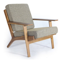 Kardiel Hans J Wegner Style Plank Armchair, Oatmeal Twill/Dark Wood - The year of design was 1953. Hans Wegner created the GE 290 Plank Series with a wind swept lineal frame. Similar to the wing chair, the frame of the plank series is pitched backward in angle in such a way that one can imagine the series being produced in a wind tunnel. The look denotes the forward thinking, forward direction Series GE 290 design. In previous designs, Hans had created single pieces. The notable element of the Plank series was the 1, 2 and 3 seat configuration as options. Hans is no doubt the father of Danish Modern Furniture design. This series shows his desire to incorporate wood as is present in much of the Danish designs with wool upholstery for its practical comfort. This series graduated to design icon status throughout Europe, the U.K and Australia by the mid 1970's. Its popularity in the U.S is now on the rise, however on a positive note, it is not a design that is known to the masses. Ownership of this series still has the advantage of exclusivity to it as it denotes a deeper understanding of the Mid-Century Designs and their designers.