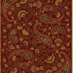 "Home Dynamix - Area Rug: Paisley Red 7' 8"" x 10' 4"" - Shop for Flooring at The Home Depot. The Home Dynamix Paisley Red 7 ft. 8 in. x 10 ft. 4 in. Area Rug features a dark red color that adds a touch of warmth to home decor. The rug is crafted with heat-set polypropylene for durability and is machine made to help ensure strength. It is suitable for use in residential areas and should be professionally cleaned."