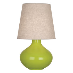 Robert Abbey - June Table Lamp - This shapely little lamp is pretty as a peach. Add a pop of color and light to your side table or nightstand with this must-have, versatile lamp. You can even get a few, and mix and match the colors!