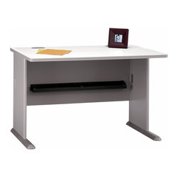 Bush Business - 48 in. Pewter Desk - Series A - This pewter finish desk will provide you with a professional appearance to conduct everyday business.  This desk is built with heavy daily usage in mind and plenty of leg room to get comfortable when working late, but also a simple design that will complement your office or home with ease.  This computer desk is practical and good looking, but its real strength is its versatility, thanks to the wealth of available options, which include optional pewter hutch, sliding keyboard shelf or optional pencil drawer.  The unique C-leg design incorporates molded feet and integrated levelers for total convenience.  Add utility with many available options. * Diamond Coat� top surface is scratch and stain resistant. Steel insert in molded feet w levelers. Top and leg wire access/concealment. More leg room with C-leg design. PVC edge banding. Pewter finish. 47.5 in W x 26.875 in D x 29.875 in. H