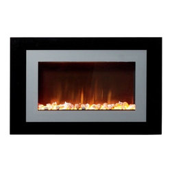 """Burley UK - Ayston Wall Mounted Electric Fireplace - Features: -Virtual flame.-Wall hanging model.-Thermostat.-Remote control and touch control.-Burley logo on the glass is sensitive to the touch, simply touch the logo to cycle the fire through the different functions.-Electrical 120 V, 60Hz, 12.0 A, 1420 W, Heater rating 1300 W.-Distressed: No.Dimensions: -Overall Height - Top to Bottom: 24"""".-Overall Width - Side to Side: 37"""".-Overall Depth - Front to Back: 6.5"""".-Overall Product Weight: 77 lbs.Warranty: -Product Warranty: 1 Year."""