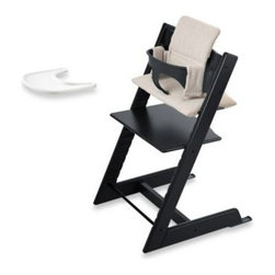 Stokke - Stokke Tripp Trapp High Chair Complete Bundle in Black - Perfect for any growing family, this Tripp Trapp set offers a lot of value, comfort and style. Made of 100% solid beech wood, the Tripp Trapp is a durable, long-lasting and practical piece of fine furniture.