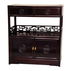 Oriental Unlimted - Rosewood Long Life Display Cabinet in Rosewoo - Auspicious Shou medallions for longevity. Key design shelf rails for luck. Classic Oriental joinery and cabinetry with authentic floating panels. Asian style tea cabinet crafted from solid kiln dried Rosewood. Rich dark Cherry stain with durable medium gloss clear lacquer. Over-all: 30 in. W x 10 in. D x 34 in. H (39 lbs.). Cabinet: 29 in. W x 9 in. D x 13 in. H. Shelf: 29 in. W x 9 in. D x 11 in. H. Drawers: 12 in. W x 7.5 in. D x 2.25 in. H