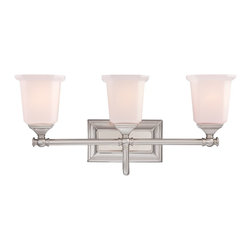 Quoizel - Quoizel NL8603BN Nicholas Transitional Bathroom / Vanity Light - This gleaming collection gives a solid nod to midcentury style. The squared shape of the opal etched glass shades gives this design an edge, and it is complemented beautifully by the rectangular backplate.
