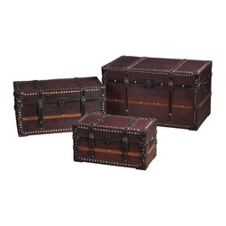 Sterling Industries - Sterling Industries Sterling Traveller's Steam Trunks Storage Chests - The Traveller'S Steamer Trunks Storage Chests By Sterling Were Inspired By The Timeless Beauty, Inherent Romance And Unmatched Utility Of Steamer Trunks From A By-Gone Era. These Chests Are Great For Storing Things Like Blankets, Linens, Papers, Toys, And Memorabilia. They Can Also Serve As A Decorative Coffee Table Or Side Table Adding Unique Character In The Living Room, Family Room, Play Room Or Bedroom. These Are A Must-Have Item For The Global Inspired Decorating Scheme. Made Of Wood And Finished In A Salford & Tan Finish With Serious Hardware Applied, The Large Trunk Measures 28 Inches Long X 14 Inches Wide X 16 Inches High.  Chest (3)