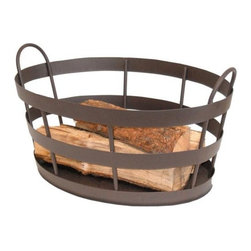 """Rustic Fireplace Log Basket - This practical log basket looks nice next to the hearth and will keep messy logs right where one needs them without messing up the rug. If you're feeling really generous, throw in a bundle of kindling to go with it.Roman bronze powder coated finish.23"""" wide. x 12"""" high. x 13"""" deep.$69.91"""