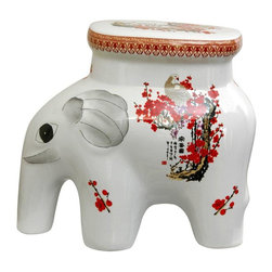 "Oriental Furniture - 14"" Cherry Blossom Porcelain Elephant Stool - Durable porcelain stool in the shape of a lucky elephant, complete with eye and ear detail. Cherry blossom and white crane oriental art motif traditionally symbolizes felicity and household harmony."
