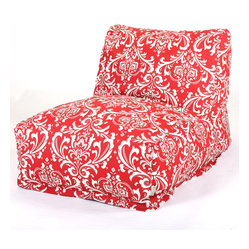 Majestic Home - Indoor Red and White French Quarter Bean Bag Chair Lounger - Your style is laid-back — literally, with this awesome lounger. A beanbag upgraded to the next level, it offers the ultimate in comfort and easy-care convenience, since the slipcover zips off to toss in the wash.