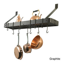 Old Dutch - Steel Bookshelf-style Kitchen Rack - Maximize and enhance your kitchen space with this kitchen rack,which is perfect for displaying seasonings,utensils,or pots. This contemporary wall-mounted rack features one shelf and 12 hooks. This chic rack is functional in any space.