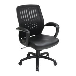 Office Star - Work Smart EM Series EM59722-U6 Screen Back Over Designer Contoured Shell Chair - Breathable Screen Back and Faux Leather Seat with Built-In Lumbar Support. One Touch Pneumatic Seat Height Adjustment. Locking Tilt Control with Adjustable Tilt Tension. Padded Armrests. Heavy Duty Nylon Base with Dual Wheel Carpet Casters. Black Faux Leather.