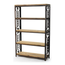 Go Home - Go Home Farrington Bookshelf - This contemporary bookshelf comes from the French country furniture collection. It has an attractive display and storage unit for any corner in your home or office. It features five shelves that fit conveniently into wall. This bookcase is constructed from iron and reclaimed wood finished in rust.