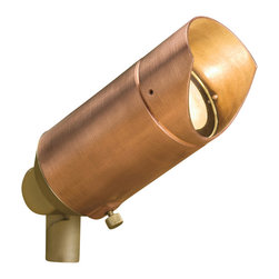 """Kichler 1-Light Landscape Fixture - Copper - One light landscape fixture. A vibrant copper finish gives. This lighting outdoor mini spot light an industrial look that will truly stand out from the rest. The shade prevents glare while the adjustable head makes. This fixture perfect for various uplighting techniques. Wiring is 35"""" of usable #18-2, spt-1-w leads. cable connector supplied with fixture. 12v porcelain universal bi-pin socket. 8"""" in-ground mounting stake (included)."""