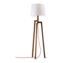 "Blu Dot - ""Blu Dot Stilt Floor Lamp, Walnut"" - This leggy lovely will let you see your decor in a whole new light. Traditional woodworking techniques go long in a modern floor lamp that simply, sleekly suits your style."
