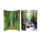 Oriental Furniture - 6 ft. Tall Double Sided Path of Life Canvas Room Divider - These lush landscape images convey a sense of tranquility and peace. Amazing nature photography provides a beautiful decorative accent for any room: living room, bedroom, dining or kitchen. Each side has a different image as shown.