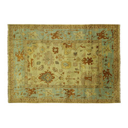 Manhattan Rugs - Geometric Ivory With Baby Blue Border Oushak Hand Knotted Wool 9'x12' Rug H5451 - Oushak rugs originated in the small town of Oushak in west central Anatolia, roughly 100 miles south of the city of Istanbul in Turkey. Oushak has produced some of the most decorative Persian influenced rugs of all times. Oushak has been a production center of Turkish rugs since the 15th century. In the late 15th century the 'design revolution' took place. Before, producing carpets was part of the nomad culture, meeting people's daily needs, but for the first time the works of designing and weaving rugs were split in two. These Turkish rugs began to be produced commercially. From the 16th up to the 18th century the most famous manufacturers of ottoman times worked in Oushak. A special heirloom wash produces the subtle color variations that give rugs their distinctive antique look.