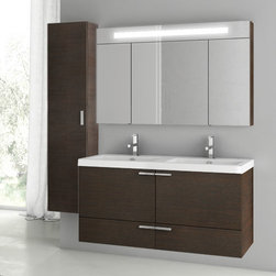 ACF - 47 Inch Wenge Bathroom Vanity Set - Made by ACF in Italy, this is an all inclusive four piece vanity set. It is a wall mounted set that includes a vanity cabinet, double bathroom sink, medicine cabinet and tall storage cabinet. It has a contemporary design and comes in a wenge finish. It is part of ACF's New Space collection and is made from the highest quality materials. Set Includes:. Vanity Cabinet (2 Doors,2 Drawers). High-end fitted ceramic sink. Wall mounted medicine cabinet. Vanity Set Features . Vanity cabinet made of engineered wood. Cabinet features waterproof panels. Vanity cabinet in wenge finish. Cabinet features 2 doors, 2 soft-closing drawers. Faucet not included. Perfect for modern bathrooms. Made and designed in Italy. Includes manufacturer 5 year warranty.