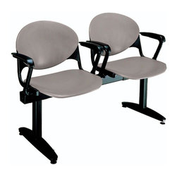 KFI Seating - Freestanding Beam Seating w 2 Seats & Backs ( - Color: Burgundy2-Seat beam with arms. Made of 15 gauge steel sandtex frame, powder-coated in black. High impact polypropylene seat and back. Injection aluminum alloy back supports. Free standing with adjustable glides. Great for waiting rooms and common areas. Pictured in Cool Grey. 47 in. W x 22 in. D x 31 in. H