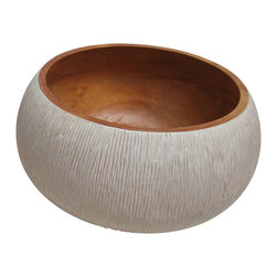 Bahari - Mango Wood Chiseld Bowl, Large - Mango wood chiseled serving salad bowl.  Hand turned from one solid piece of mango wood.  Hand chiseled outside with antique white finish, natural finish Inside with food safe natural oil.  Use for salad bowl.  Hand wash only.  Wipe with warm cloth and mild soap and dry immediately.  Regular oiling Is recommended.