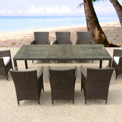 Beliani - Italy 220 Wicker Patio Table and Chairs Outdoor Dining Set for 8 by Beliani - The Italy 220 rectangular patio table and chairs provides plenty of seating for dining al fresco with friends and family. The wicker chairs have a warm brown finish, and the table has a durable tempered glass tabletop. Chair cushions are included.