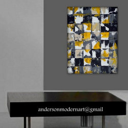 Large wall art, Art Print of yellow, gray and black Abstract Painting, - ORDER HERE: http://fineartamerica.com/products/just-be-holly-anderson-metal-print.html