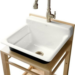 "KOHLER - KOHLER K-6608-1P-0 Bayview Wood Stand Utility Sink with Single-Hole Faucet Drill - KOHLER K-6608-1P-0 Bayview Wood Stand Utility Sink with Single-Hole Faucet Drilling on Top of Backsplash in WhiteThe Bayview single-basin utility sink is ideal for the hardest working rooms of the home and offers versatile installation and faucet options. This model features durable KOHLER(R) Cast Iron construction, a single-hole faucet drilling on the front of the integrated backsplash, and a generous 11"" basin depth.Please see our Delivery Notes for Freight Shipments for products that are oversized and/or are too heavy to ship UPS ground. KOHLER K-6608-1P-0 Bayview Wood Stand Utility Sink with Single-Hole Faucet Drilling on Top of Backsplash in White, Features:• Single-basin utility sink with installation and faucet options"