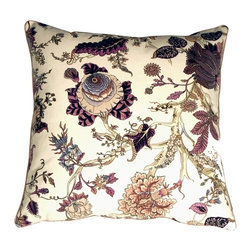 Pillow Decor - Pillow Decor - Highland Floral Cream and Purple 20 x 20 Throw Pillow - Blooming highland flowers burst with life on this enchanting floral design throw pillow. The cream cotton background wonderfully shows off the contrasting flowers and branches in soft purple, mauve, browns and olive greens. The pillow is edged with warm sand colored piping. Lively and feminine this is a gorgeous, versatile pillow.