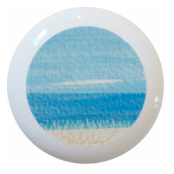 Beach Ceramic Series, Knob - New 1 1/2 inch ceramic cabinet, drawer, or furniture knob with mounting hardware included. Also works great in a bathroom or on bi-fold closet doors (may require longer screws).  Item can be wiped clean with a soft damp cloth.  Great addition and nice finishing touch to any room!