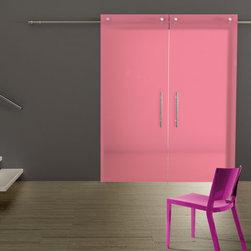 Lollipop Sliding Door - Glass sliding door in translucent pink