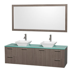 Wyndham Collection - Vanity Set with White Porcelain Sinks - Includes drain assemblies, mirror and P-traps for easy assembly. Faucets not included. Four functional drawers. Two functional doors. Single-hole faucet mount. Fully-extending soft-close drawer slides. Concealed soft-close door hinges. Deep doweled drawers. Unique and striking contemporary design. Highly water-resistant low V.O.C. sealed finish. Eight-stage preparation. Lifetime warping prevention. Green glass top. Metal exterior hardware with brushed chrome finish. Made from veneers and high quality grade E1 MDF. Gray oak finish. Vanity: 72 in. W x 22.25 in. D x 21.25 in. H. Sink: 5.5 in. H. Mirror: 70 in. W x 0.75 in. D x 33 in. H. Care Instruction. Vanity Assembly Instruction. Mirror Assembly InstructionModern clean lines and a truly elegant design aesthetic meet affordability in the (No Suggestions) collection amare vanity. Available with green glass or pure white man-made stone counters, and featuring soft close door hinges and drawer glides, you'll never hear a noisy door again! Meticulously finished with brushed Chrome hardware, the attention to detail on this elegant contemporary vanity is unrivalled.