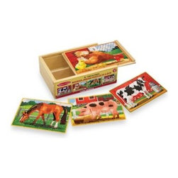 Melissa And Doug - Melissa & Doug Farm Animals Jigsaw Puzzles in A Box (Set of 4 Puzzles) - Little ones will develop fine motor skills and cognitive reasoning skills while they play with these beautiful wooden puzzles. The set includes four wooden 12-piece farm animal jigsaw puzzles including a hen and her chick, a cow, a pig, and a horse.