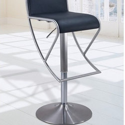 Fresco Modern Barstool - Eye-catching and unique, the contemporary Fresco Bar Stool is a favorite among modern decor enthusiasts. Featuring cool brushed stainless base with footrest, and hydraulic height adjustment.