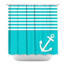 DiaNoche Designs - Shower Curtain Artistic - Teal Love Anchor Nautical - DiaNoche Designs works with artists from around the world to bring unique, artistic products to decorate all aspects of your home.  Our designer Shower Curtains will be the talk of every guest to visit your bathroom!  Our Shower Curtains have Sewn reinforced holes for curtain rings, Shower Curtain Rings Not Included.  Dye Sublimation printing adheres the ink to the material for long life and durability. Machine Wash upon arrival for maximum softness on cold and dry low.  Printed in USA.