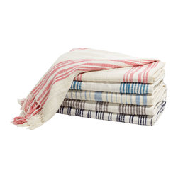 John Robshaw Striped Cotton Throws: New Spring 2014 Collection - Hand loomed and hand knotted,these South Indian cotton throws are the perfect weight and so lovely you will want to toss them on top of every bed and any sofa.