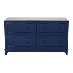 Worlds Away - Worlds Away Four Drawer Navy Lacquer Dresser WERSTLER NVY - Four Drawer Navy Lacquer Dresser. All drawers on glides.