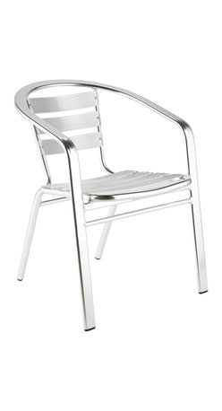 Eurostyle - Sadie Arm Chair (Set Of 6)-Aluminum - This gleaming armchair is a natural fit for your outdoor space. Its airy design, with slatted seating area and backrest, allows you to stay cool while you sit. Its clean appearance also marries well with other furniture.