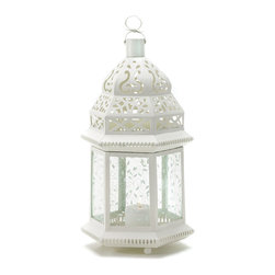 """Koehler Home Decor - Koehler Home Decor Large White Moroccan Lantern - Light leaps in lacy patterns from the cutwork roof and vine-patterned panels of this alluring candle lamp. Cast a glamorous aura over an outdoor gathering, or use several together to elegantly illuminate a shadowy garden path. Metal and glass. 7.75""""x 6.75""""x 15"""" high. Candle not included.Material: Metal and glass. Size: 7.75""""x 6.75""""x 15"""" high."""