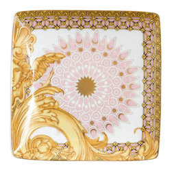 Versace - Byzantine Dreams Porcelain Canape Dish - The romantic Byzantine Dreams dinnerware collection from Versace is a feast for the eyes with its stunning combination of soft pinks and rich golds. This dramatic dinnerware epitomizes the style that is Versace and will make a striking fashion statement on any table.