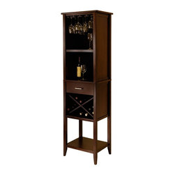 Winsome - Palani Cappuccino Finish 12 Bottle Wine Tower Multicolor - 94822 - Shop for Wine Bottle Holders and Racks from Hayneedle.com! X marks the spot and it holds your treasures with the lovely Palani Cappuccino Finish 12 Bottle Wine Tower. The eye-catching X-shaped wine rack holds 12 bottles and the top stemware hanging rack allows extra space on the top shelf for storing or displaying other items - or more wine glasses if you've got them! The middle and bottom shelf offer even more space and the compact drawer conveniently holds your accessories. Tall and thin with a sleek design and tapered legs this space-efficient free-standing wine tower is made of durable wood in a rich cappuccino finish. Find a favorite spot for the Palani and have your favorite drinkable treasures always conveniently at hand.About Winsome TradingWinsome Trading has been a manufacturer and distributor of quality products for the home for over 30 years. Specializing in furniture crafted of solid wood Winsome also crafts unique furniture using wrought iron aluminum steel marble and glass. Winsome's home office is located in Woodinville Washington. The company has its own product design and development team offering continuous innovation.