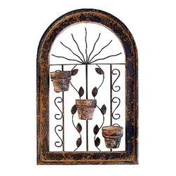 Mexican Home Accents - At La Fuente Imports we continually strive to introduce new and exciting southwestern home accents, and our line of Rustic and Talavera wall planters from the heart of old Mexico are no exception. The Rustic wall planters begin with a wooden frame made in the shape of a window, then authentic wrought iron accents are added to the center. Afterwards, the frame is finished in a two-step process that creates the look of iron, and all designs include two or three terra cotta pots that match the rustic look of the frame.