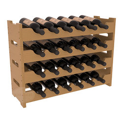 24 Bottle Mini Scalloped Wine Rack in Pine with Oak Stain + Satin Finish - Stack four 6 bottle racks for proper storage of 24 wine bottles. This rack requires light hardware for assembly and is ready to use as soon as it arrives. Makes the perfect gift and stores wine on any flat surface.