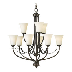 "Murray Feiss - Murray Feiss F2253/6+3ORB Chandelier - Oil Rubbed Bronze - Opal Etched Glass Shade. Number of Bulbs: 9. Bulb Base: Medium (E26). Bulb Type: Incandescent. Bulb Included: No. Watts Per Bulb: 100. Wattage: 900. Voltage: 120. Height: 30"". Diameter: 29"". Canopy Diameter: 5.5"". Backplate Diameter: 5.5"". Chain Length: 96"". Wire Length: 120"". Energy Star: No. UL Listed: Yes. UL Rating: Dry Location."